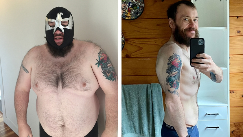 Mike Kilpatrick before and after losing 75kgs